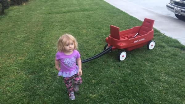 Played outside in the grass with her wagon